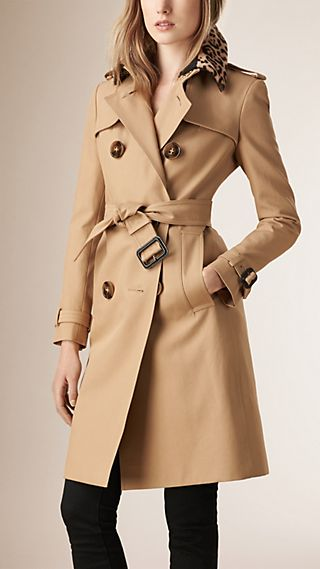 Shearling Collar Cotton Trench Coat