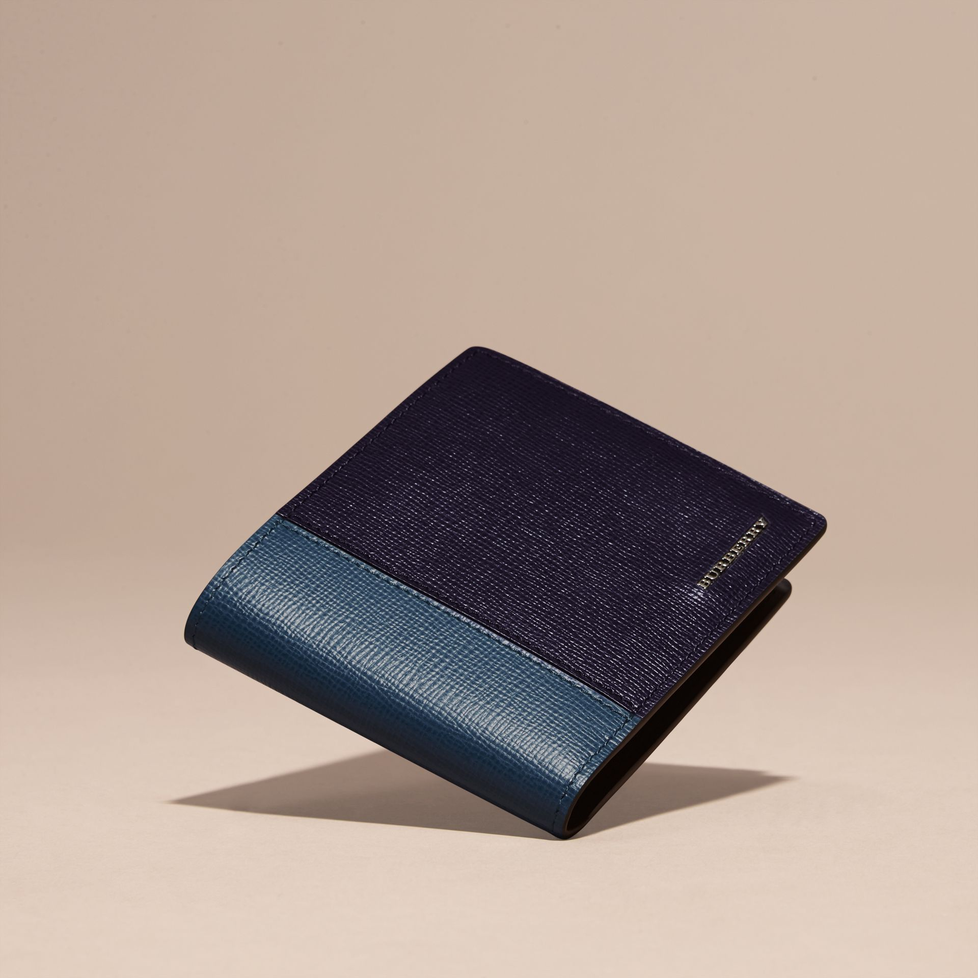 Dark navy/mineral blue Panelled London Leather Folding Wallet Dark Navy/mineral Blue - gallery image 3