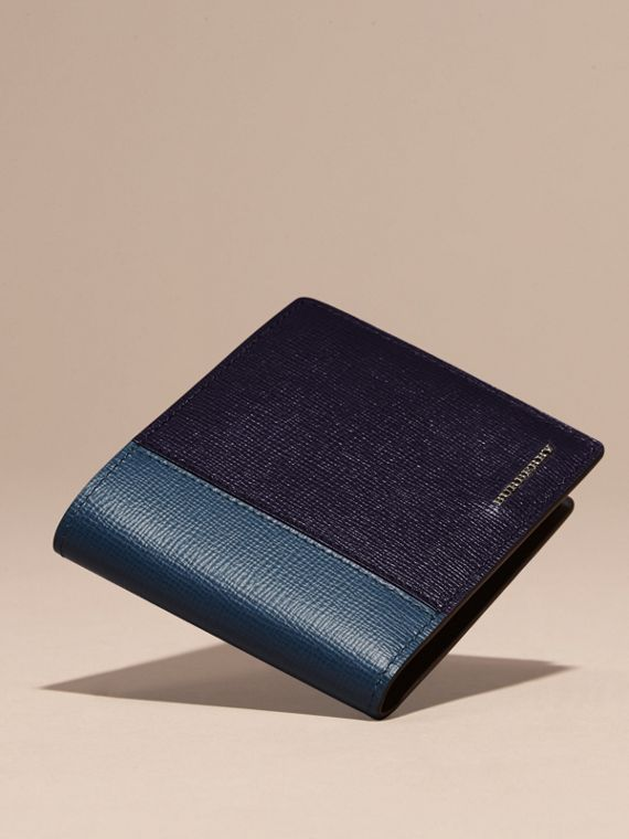 Dark navy/mineral blue Panelled London Leather Folding Wallet Dark Navy/mineral Blue - cell image 2