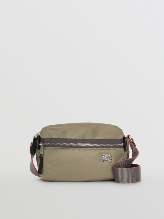 EKD Aviator Nylon and Leather Crossbody Bag in Celadon