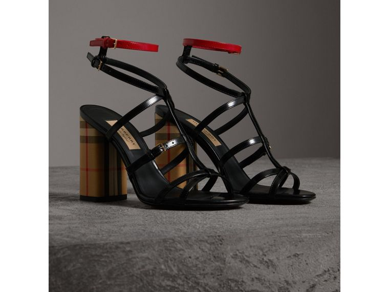 Vintage Check and Patent Leather Sandals in Black - Women | Burberry - cell image 4