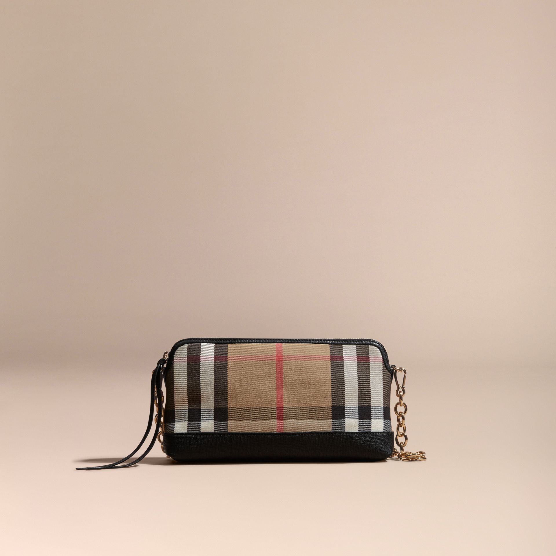 House Check and Leather Clutch Bag in Black - gallery image 9