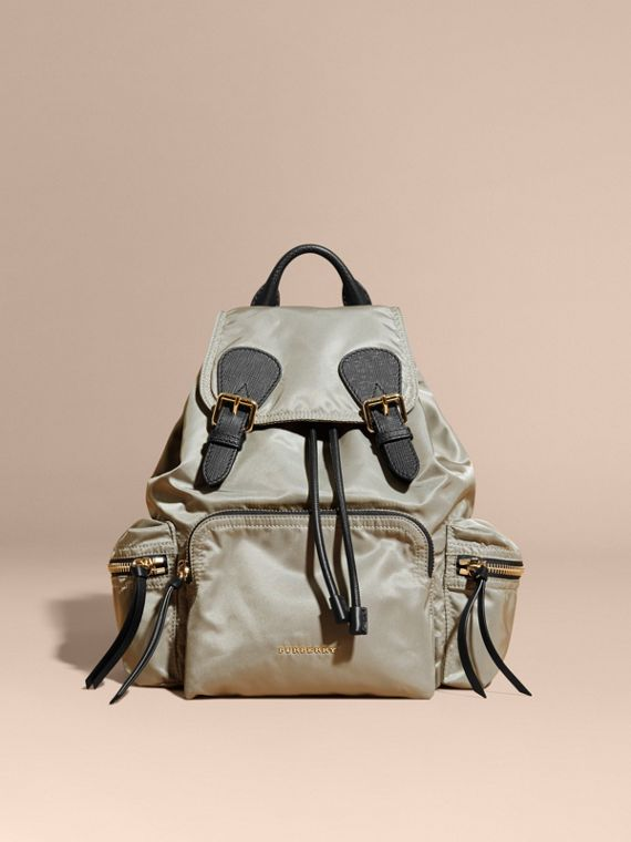 The Medium Rucksack in Technical Nylon and Leather in Thistle Grey