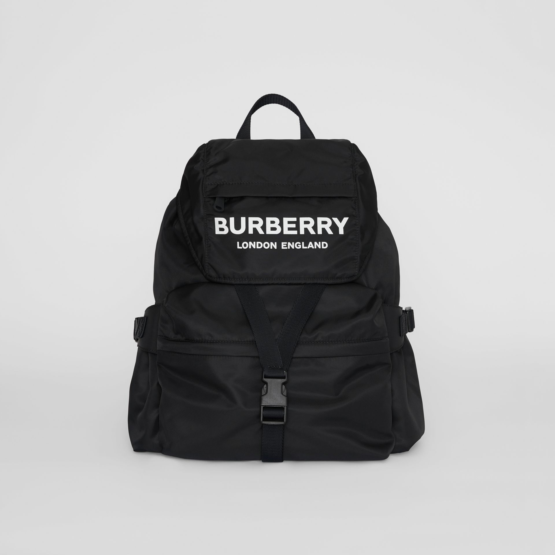 Logo Print Nylon Backpack in Black - Women | Burberry Australia - gallery image 0