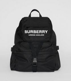 bd4ca88e03ea Logo Print Nylon Backpack in Black