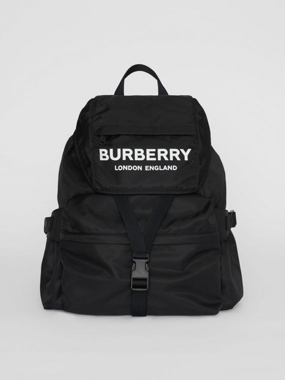 4145487e0e36 Logo Print Nylon Backpack in Black