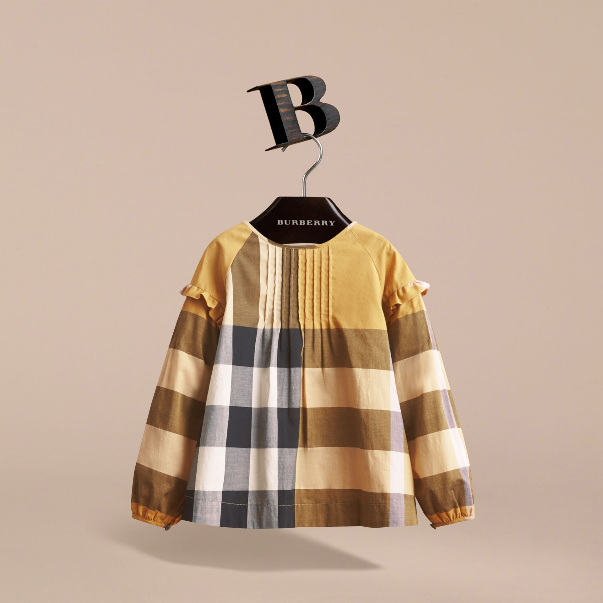 Pintuck Detail Check Cotton Top in Yellow Quartz - Girl | Burberry - gallery image 3