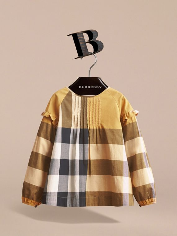 Pintuck Detail Check Cotton Top in Yellow Quartz - Girl | Burberry - cell image 2