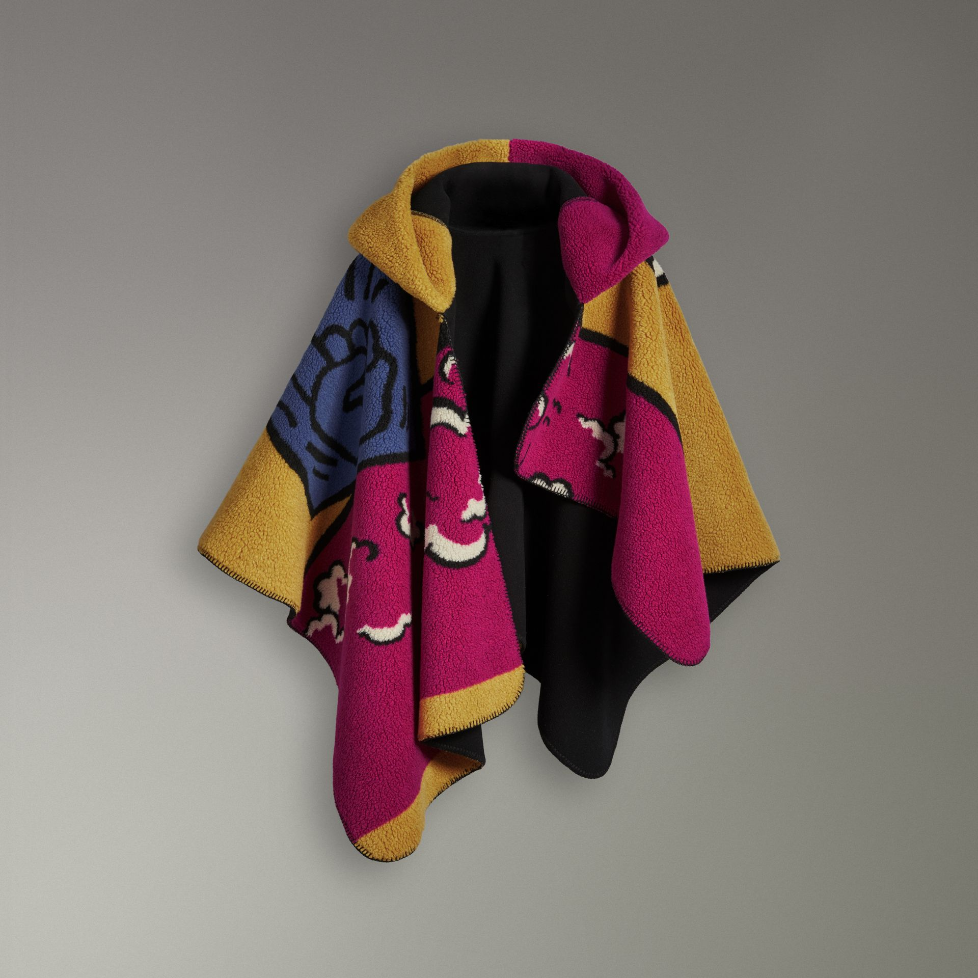 Poster Graphic Fleece Jacquard Hooded Poncho in Multicolour - Women | Burberry - gallery image 3