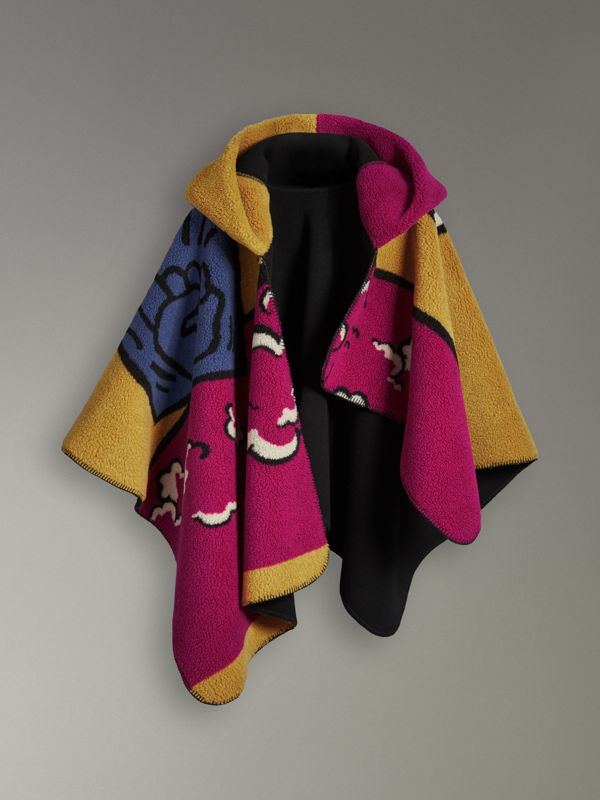 Poster Graphic Fleece Jacquard Hooded Poncho in Multicolour - Women | Burberry - cell image 3