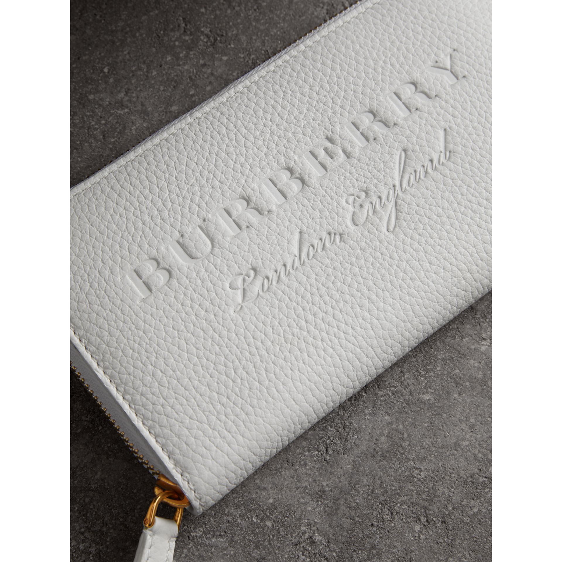 Embossed Leather Ziparound Wallet in Chalk White - Women | Burberry - gallery image 1