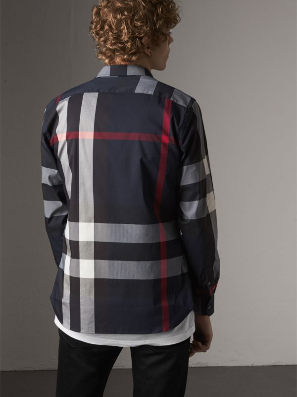 Button-down Collar Check Stretch Cotton Blend Shirt in Navy - Men | Burberry Australia - cell image 2