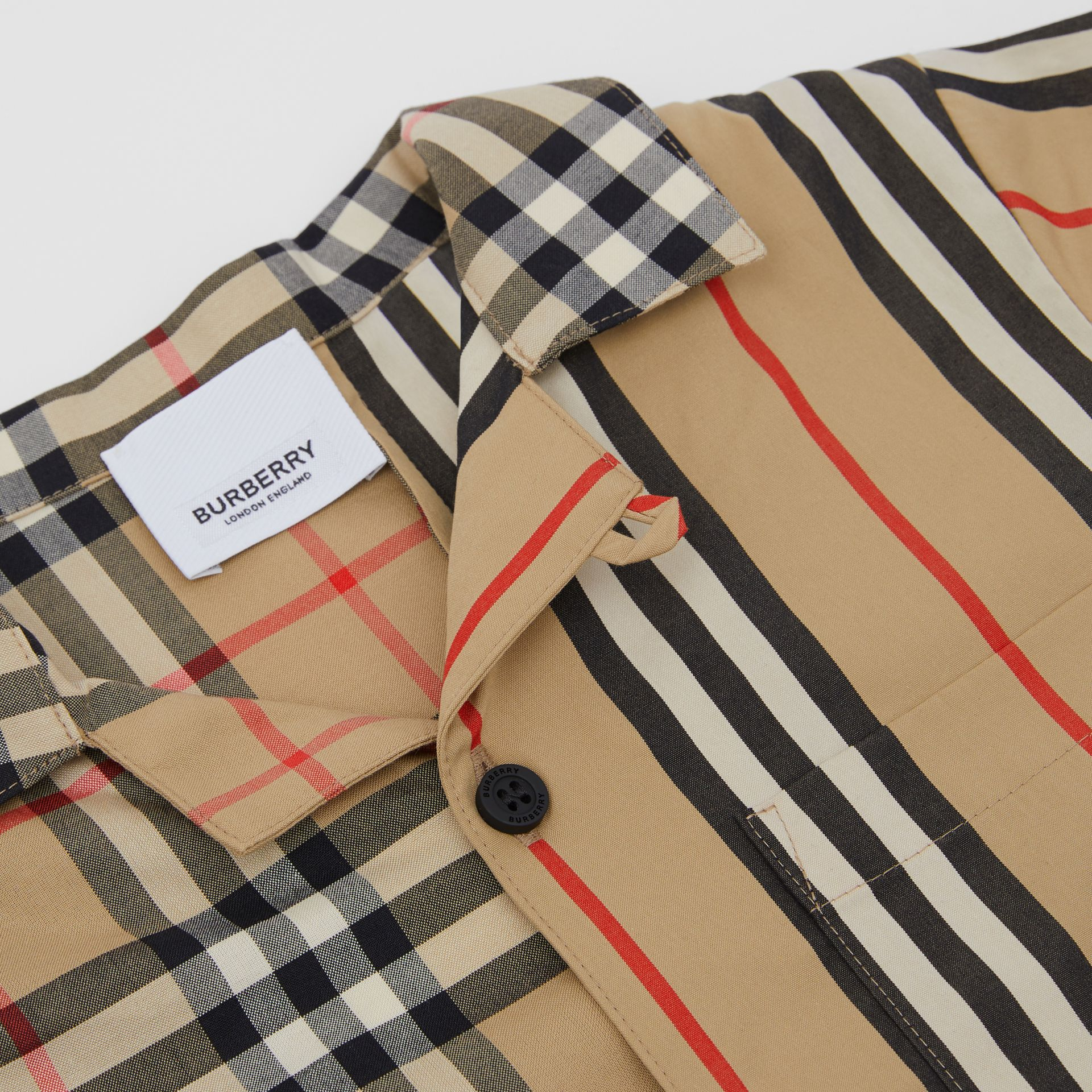 Short-sleeve Vintage Check and Icon Stripe Shirt in Archive Beige | Burberry Australia - gallery image 1