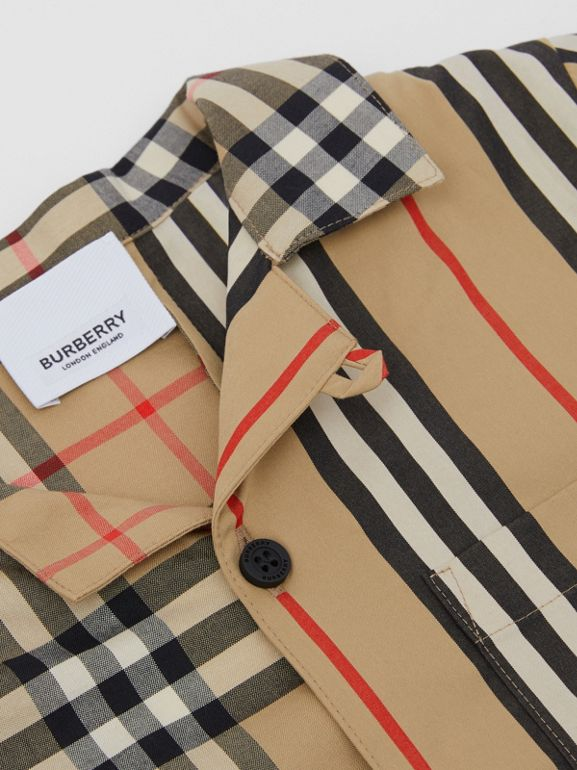 Short-sleeve Vintage Check and Icon Stripe Shirt in Archive Beige | Burberry Australia - cell image 1