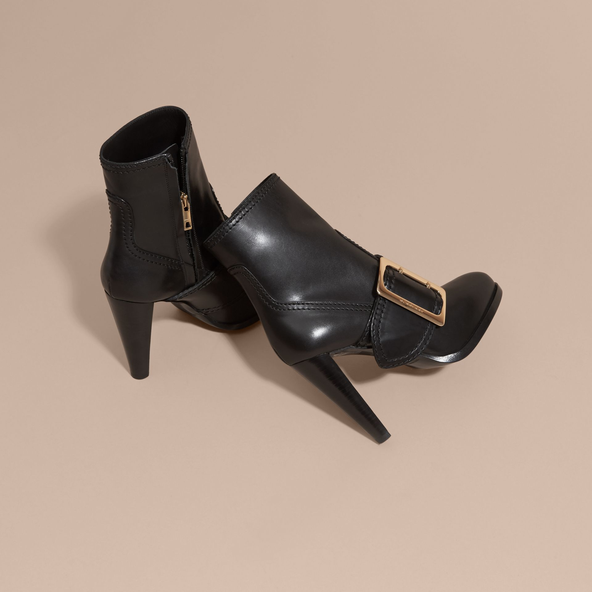 Black Buckle Detail Leather Platform Boots - gallery image 4