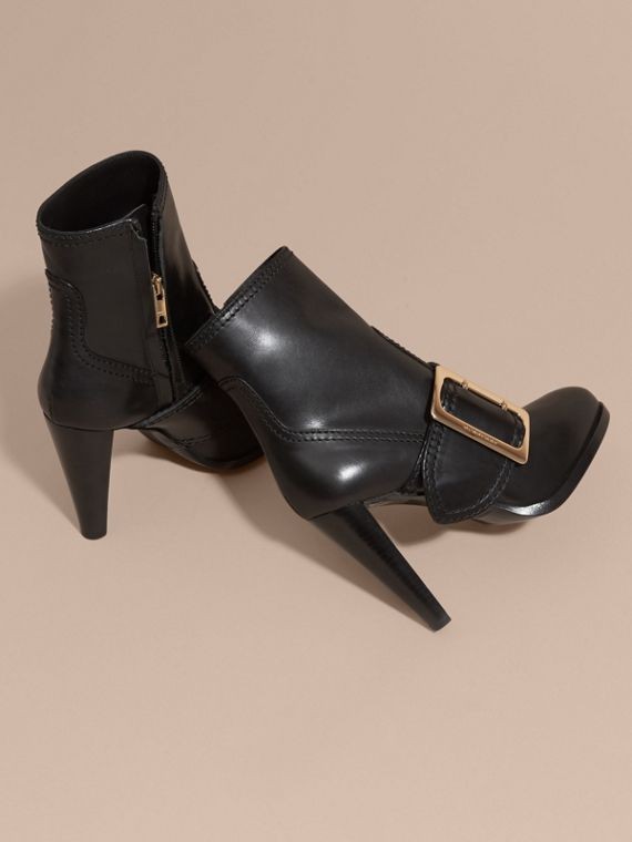 Black Buckle Detail Leather Platform Boots - cell image 3
