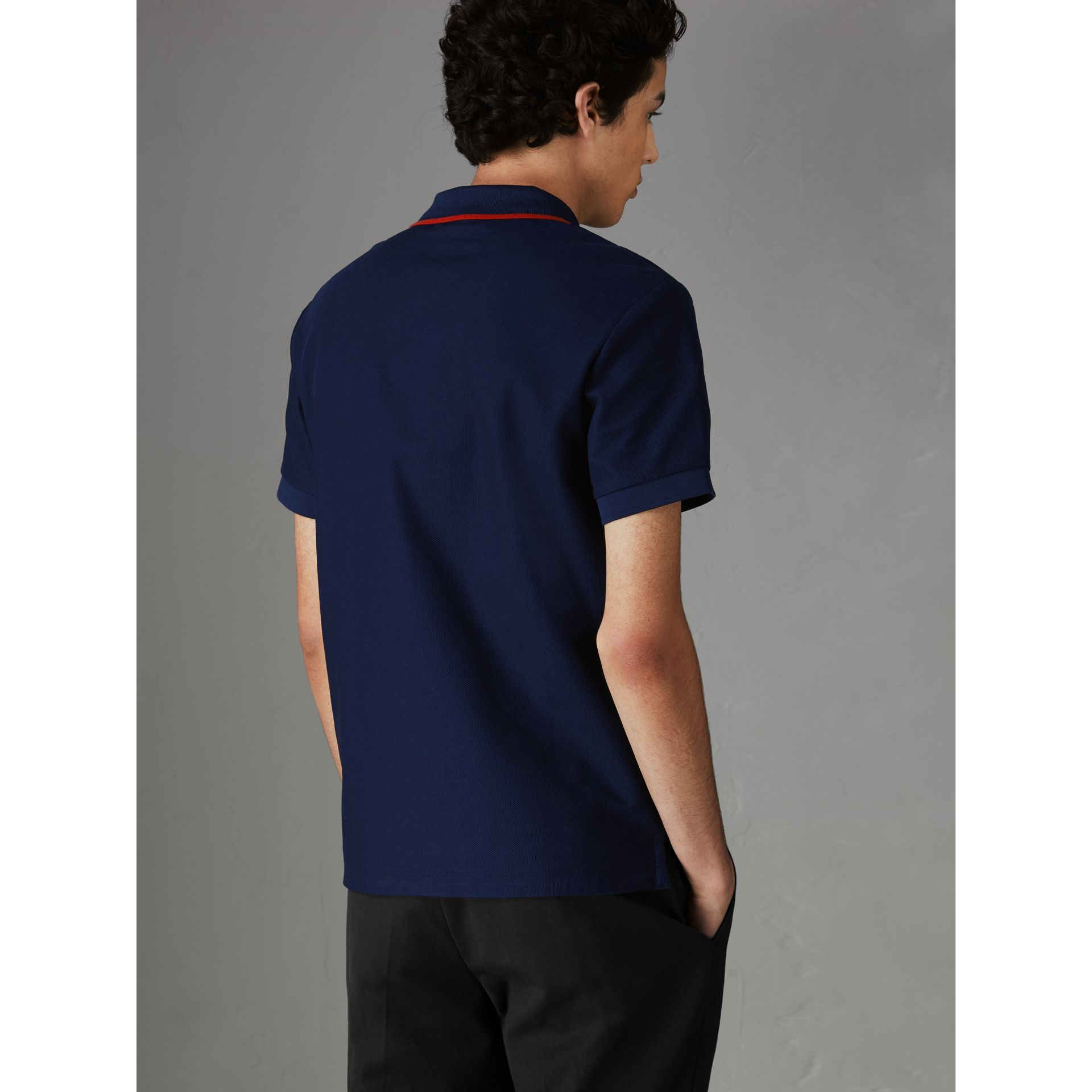 Archive Logo Cotton Piqué Polo Shirt in Navy - Men | Burberry Singapore - gallery image 2