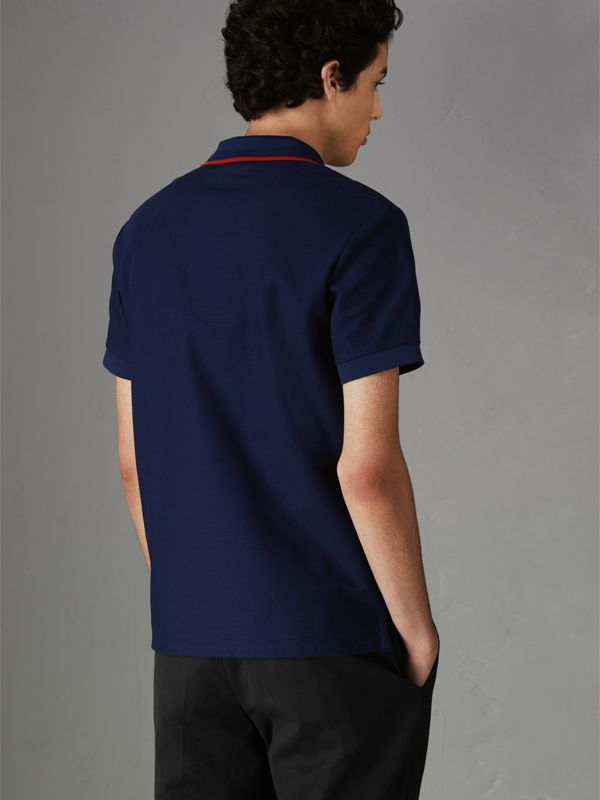 Archive Logo Cotton Piqué Polo Shirt in Navy - Men | Burberry Singapore - cell image 2