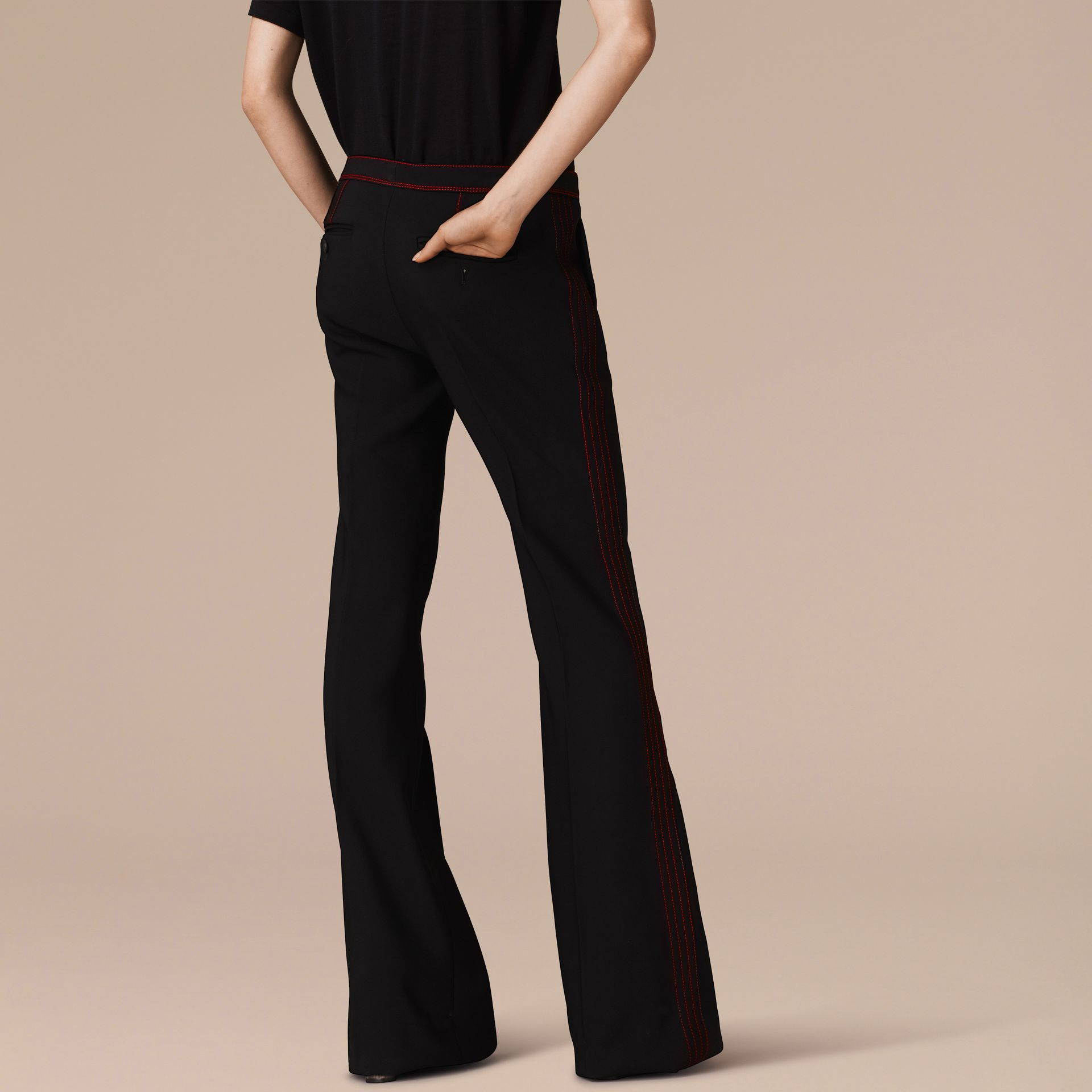 Black Stretch Boot-cut Trousers - gallery image 3