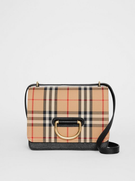 The Small Vintage Check and Leather D-ring Bag in Black