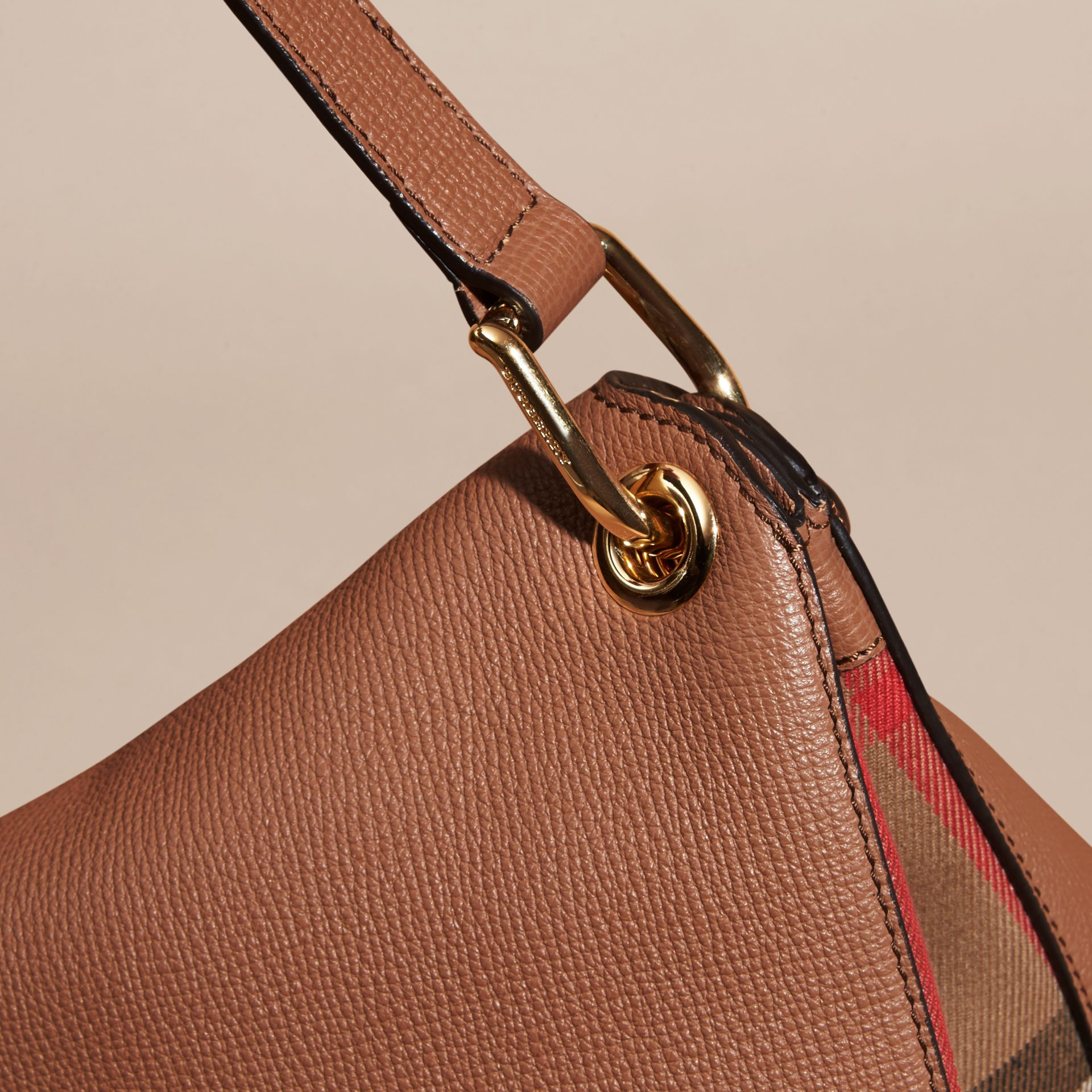 Dark sand Grainy Leather and House Check Shoulder Bag Dark Sand - gallery image 6