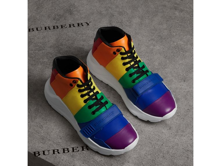 Rainbow Leather High-top Sneakers | Burberry - cell image 4