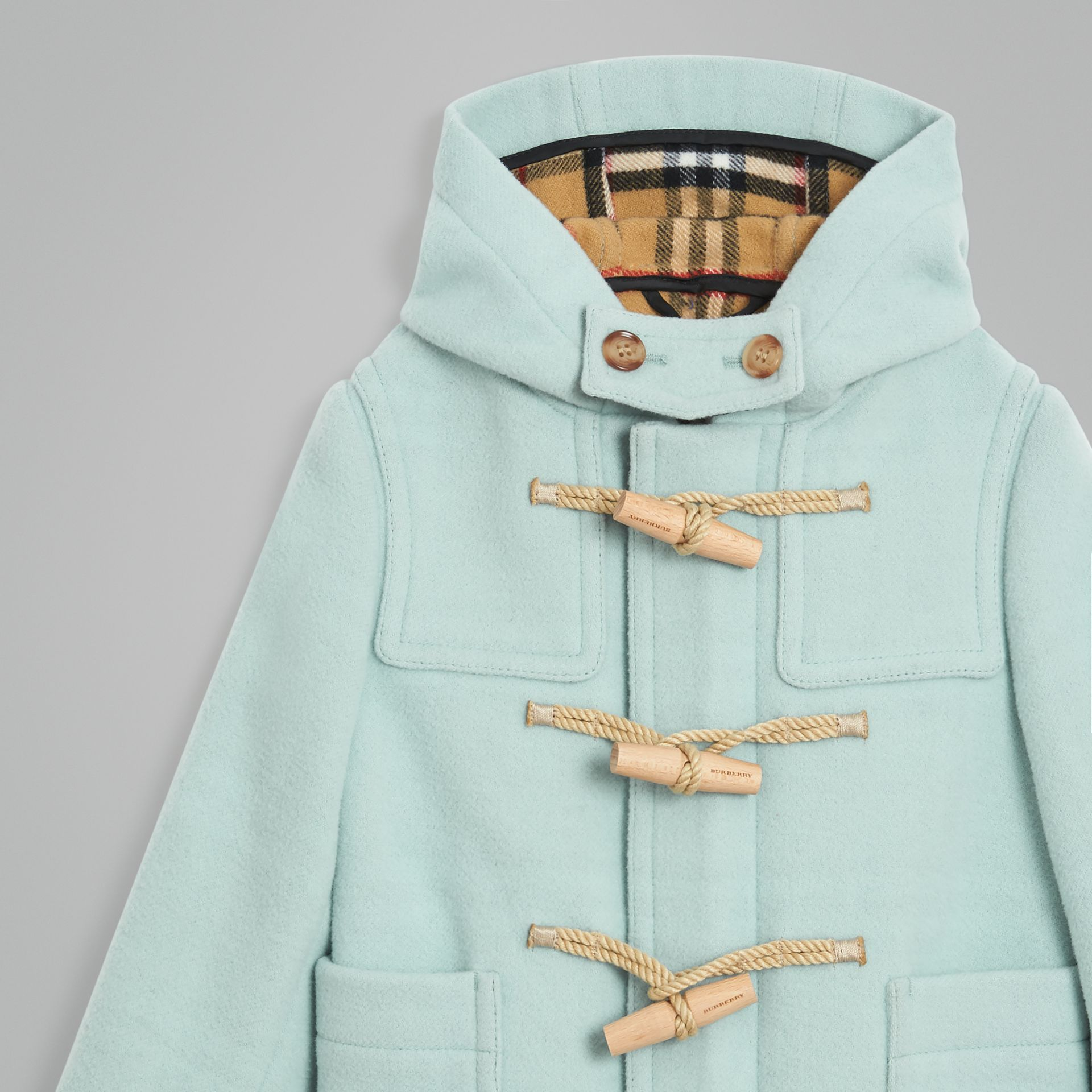 Double-faced Wool Duffle Coat in Pale Mint | Burberry Australia - gallery image 4