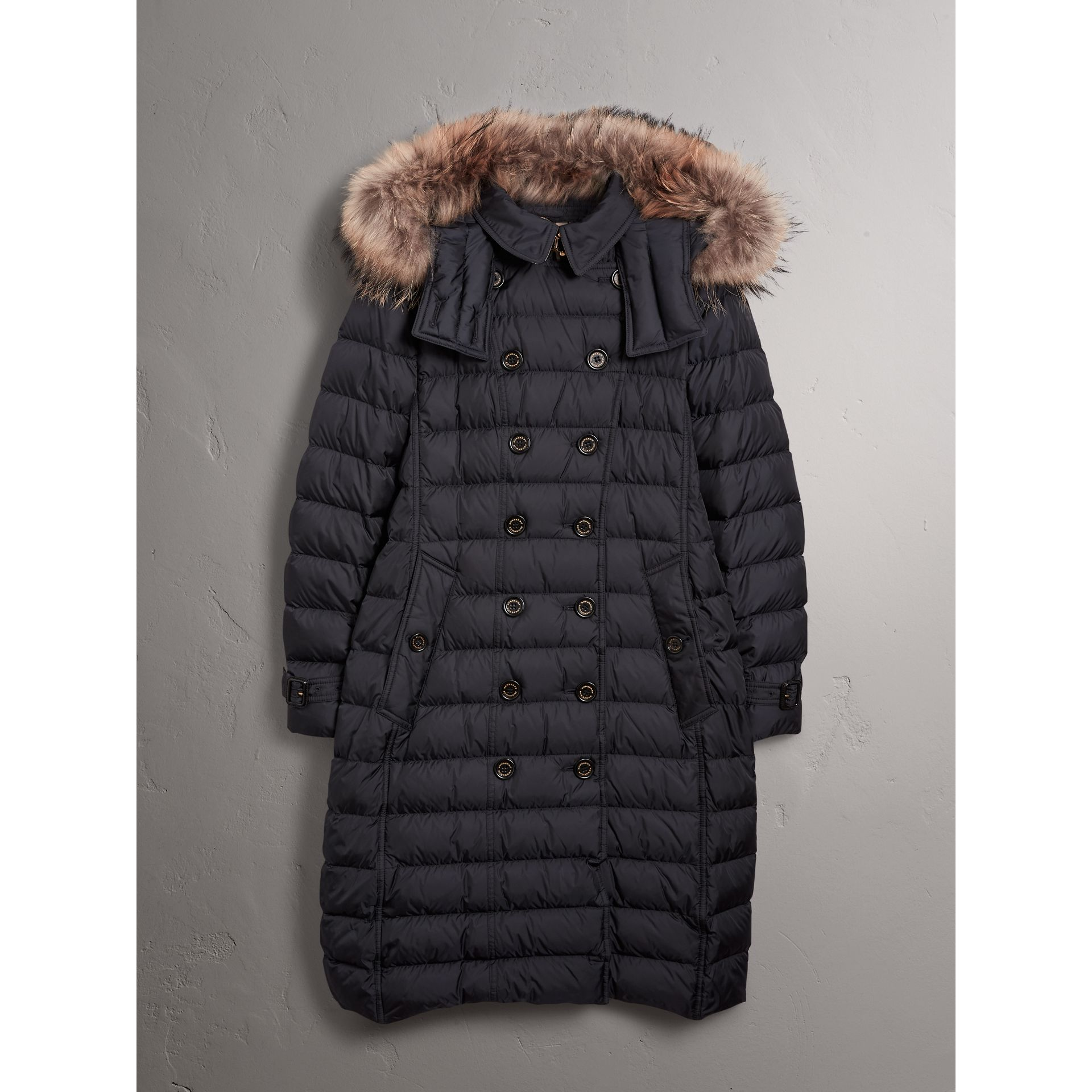 Detachable Hood Fur Trim Down-filled Puffer Coat in Navy - Women | Burberry - gallery image 4