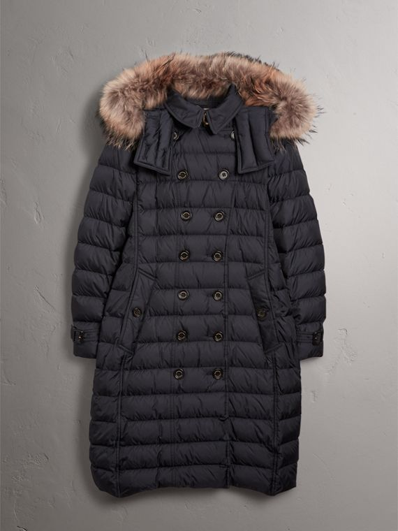 Detachable Hood Fur Trim Down-filled Puffer Coat in Navy - Women | Burberry - cell image 3