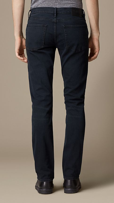 Deep indigo Straight Fit Washed Indigo Jeans - Image 2