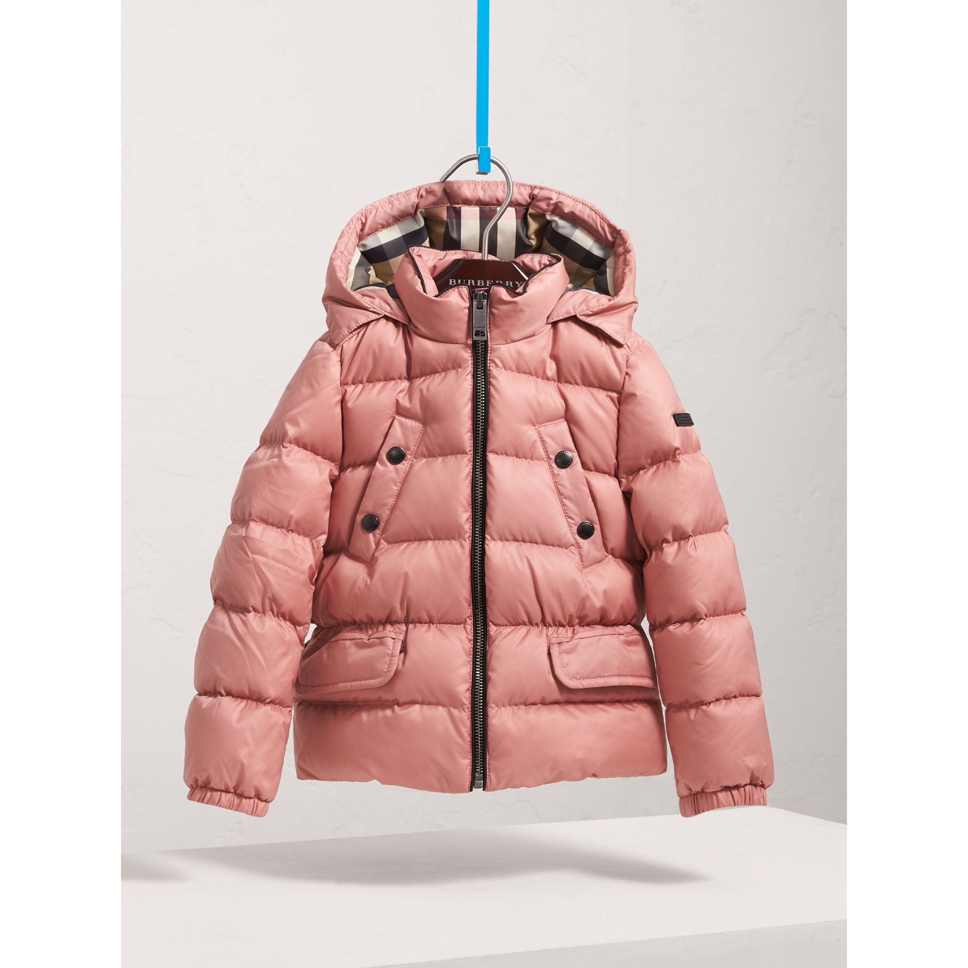 Shower-resistant Hooded Puffer Jacket in Pale Rose - Girl | Burberry United Kingdom - gallery image 3