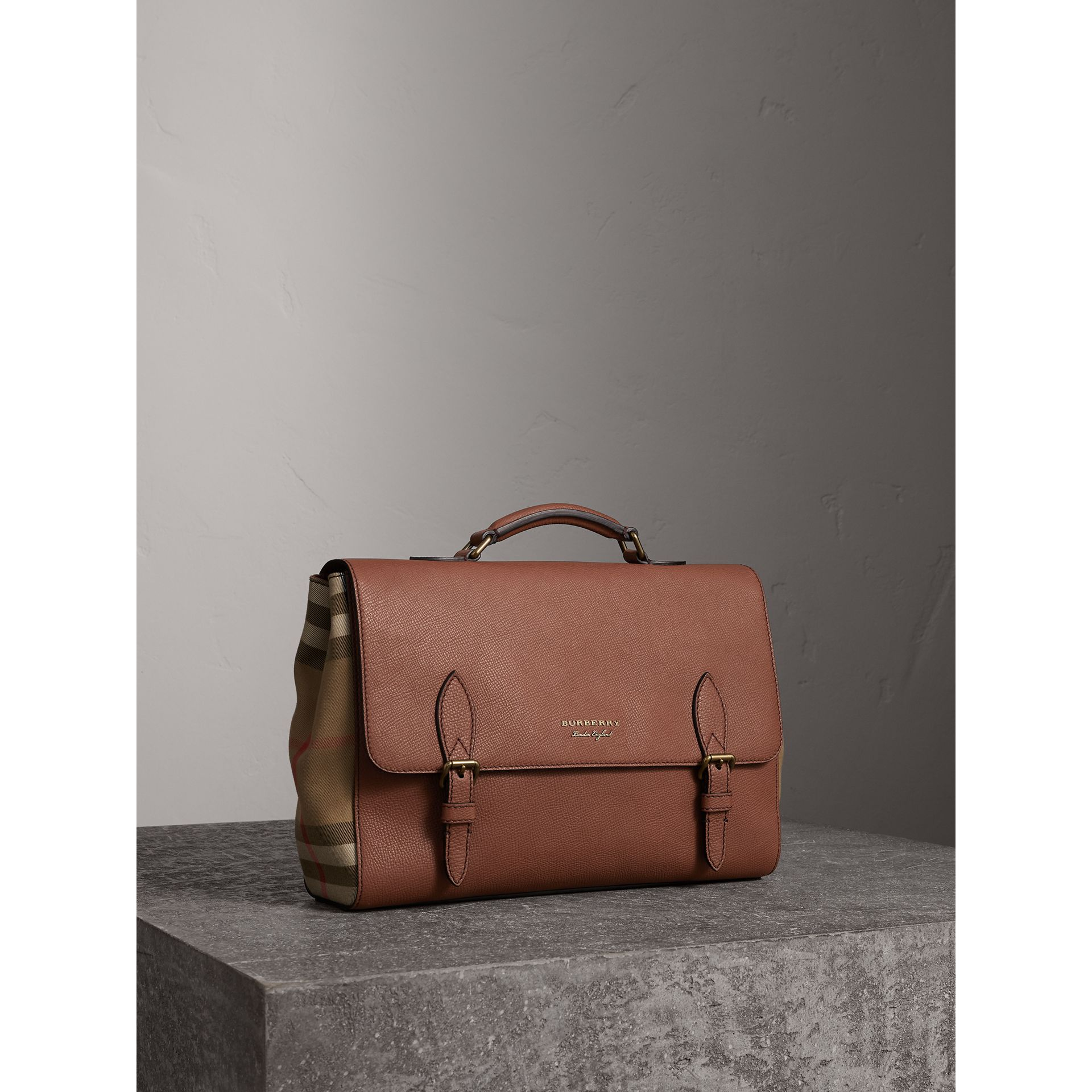 Leather and House Check Satchel in Chestnut Brown - Men | Burberry - gallery image 6