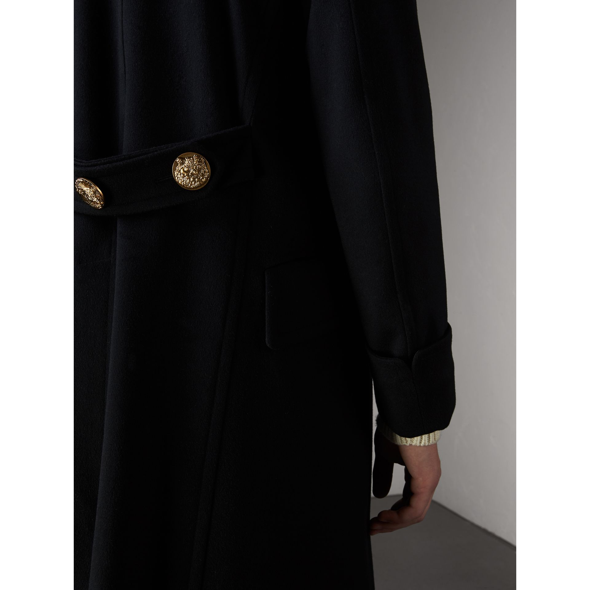 Detachable Mink Collar Cashmere Wool Greatcoat in Black - Men | Burberry - gallery image 5