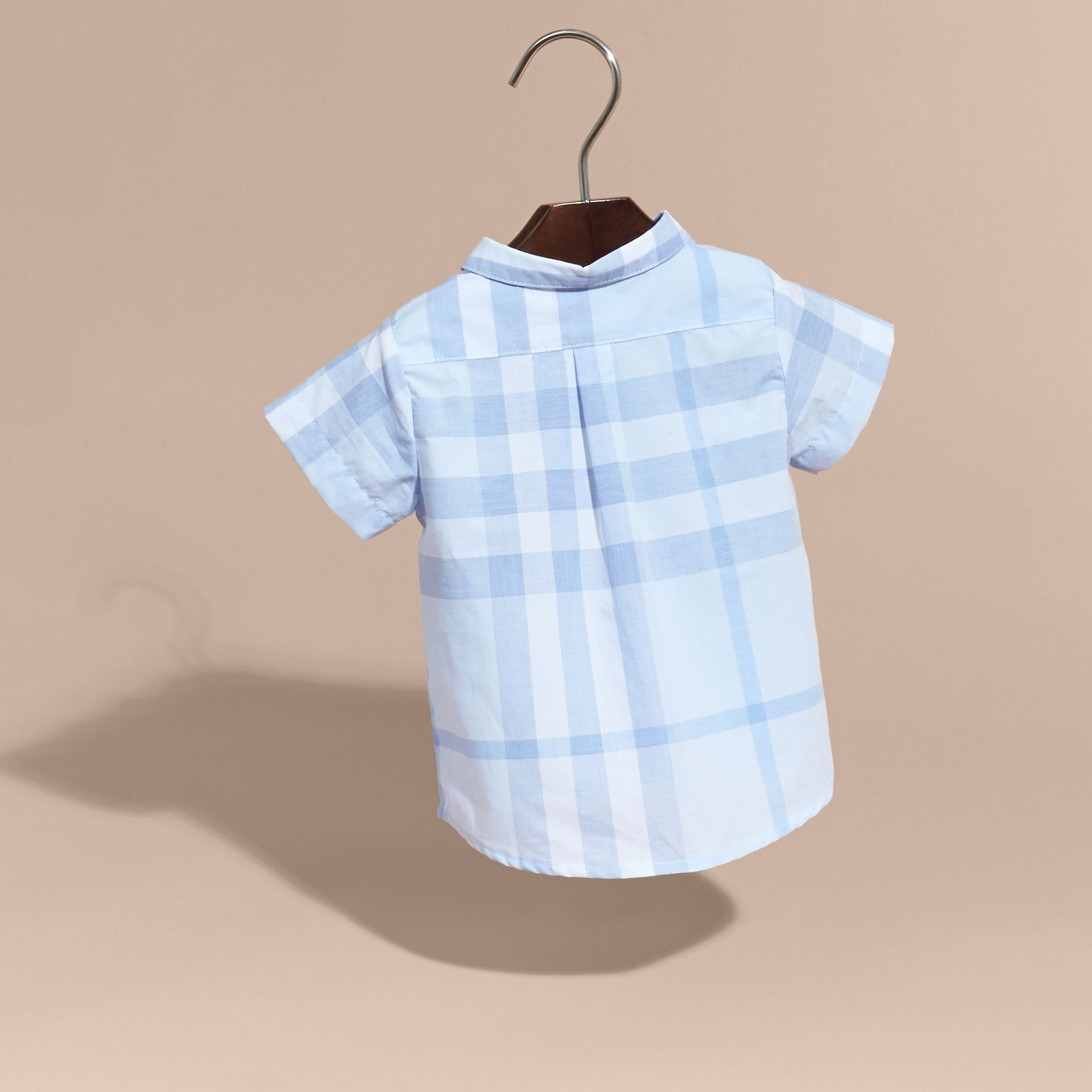 Ice blue Short-sleeve Check Cotton Shirt - gallery image 4