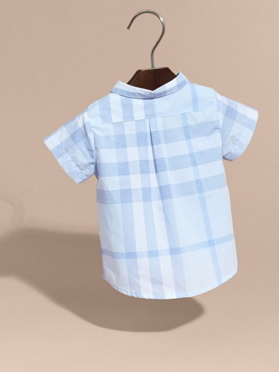 Ice blue Short-sleeve Check Cotton Shirt - cell image 3