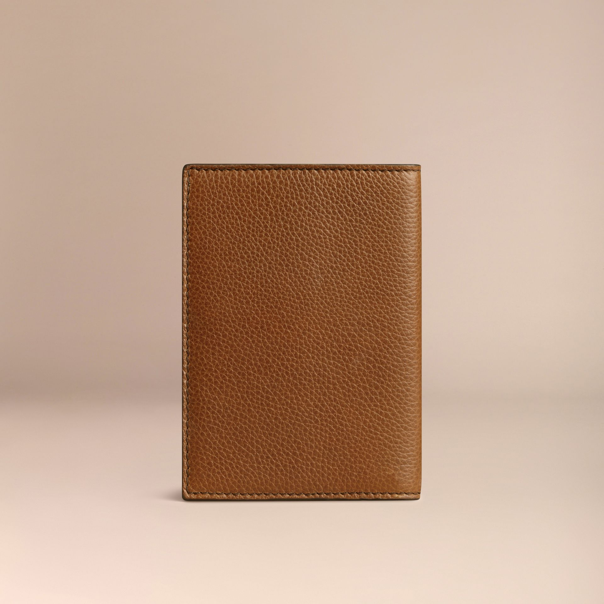 Grainy Leather Passport Cover in Tan | Burberry - gallery image 2