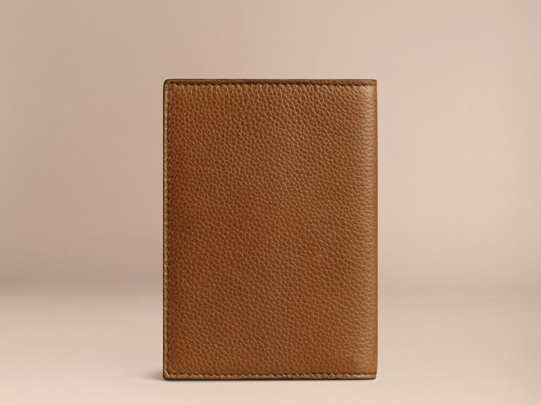 Grainy Leather Passport Cover in Tan | Burberry - cell image 1