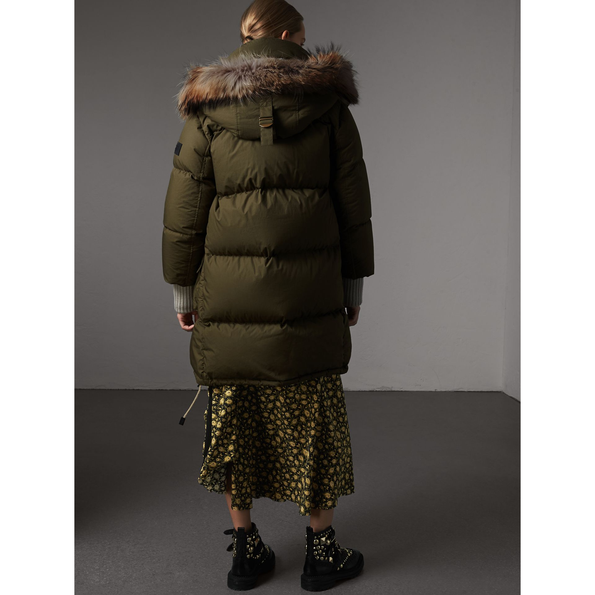 Detachable Fur Trim and Shearling Hood Puffer Coat in Olive Green - Women | Burberry Australia - gallery image 3