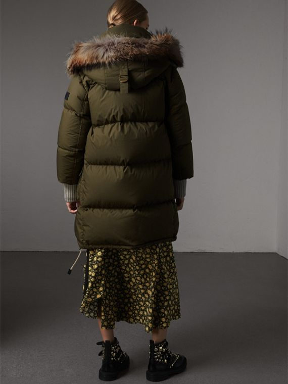 Detachable Fur Trim and Shearling Hood Puffer Coat in Olive Green - Women | Burberry Australia - cell image 2