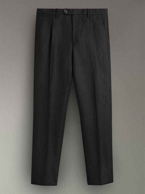 Wool Mohair Cropped Tailored Trousers in Charcoal | Burberry - cell image 3