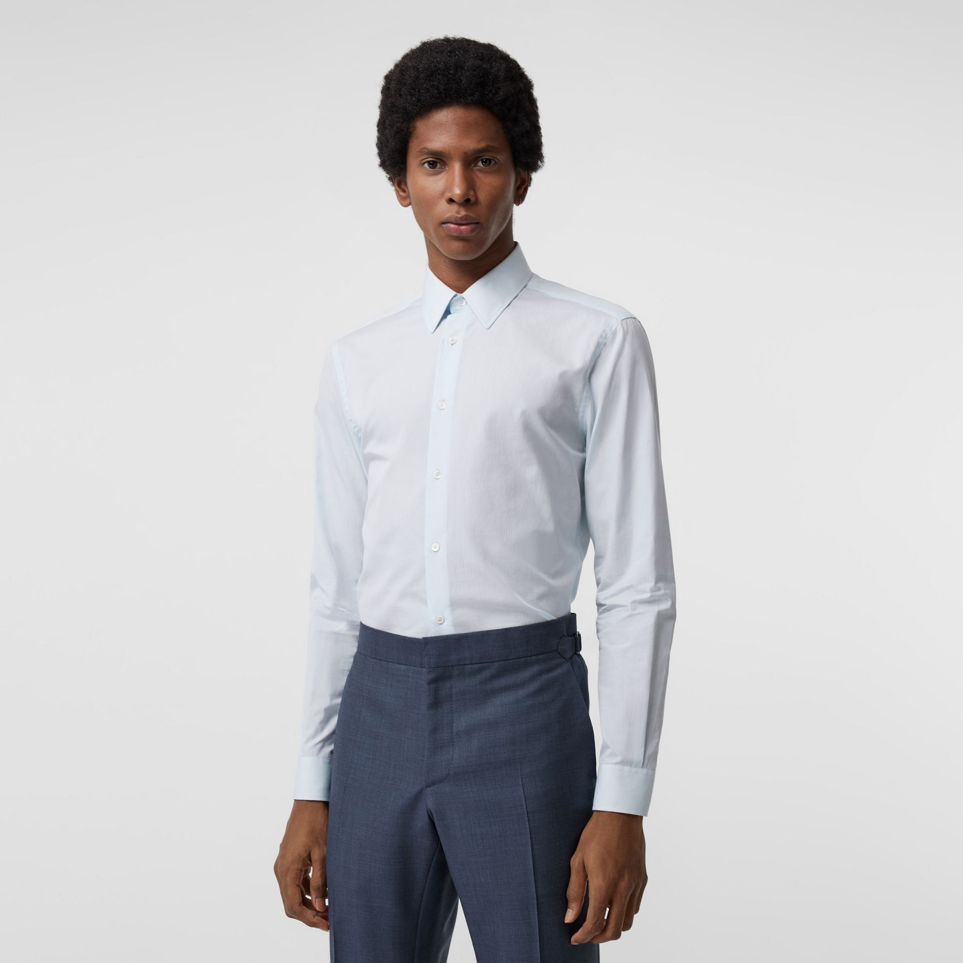 Slim Fit Striped Cotton Poplin Dress Shirt in City Blue - Men | Burberry - gallery image 0