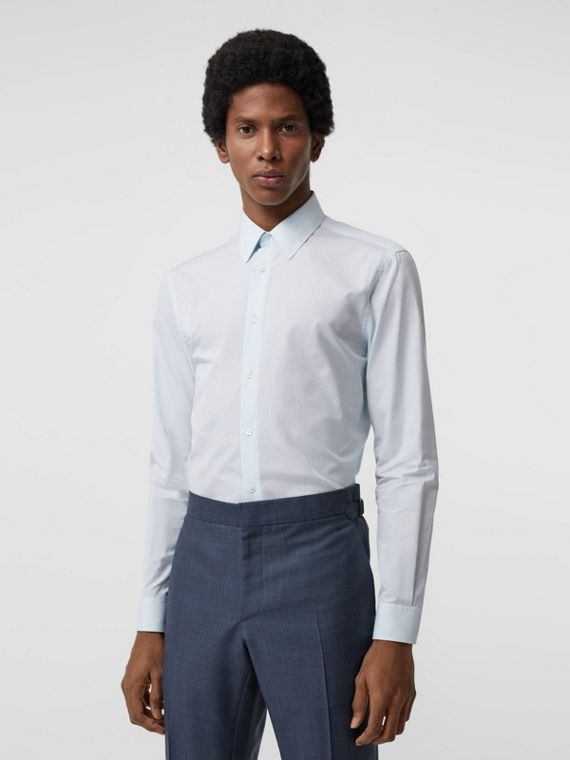 Slim Fit Striped Cotton Poplin Dress Shirt in City Blue