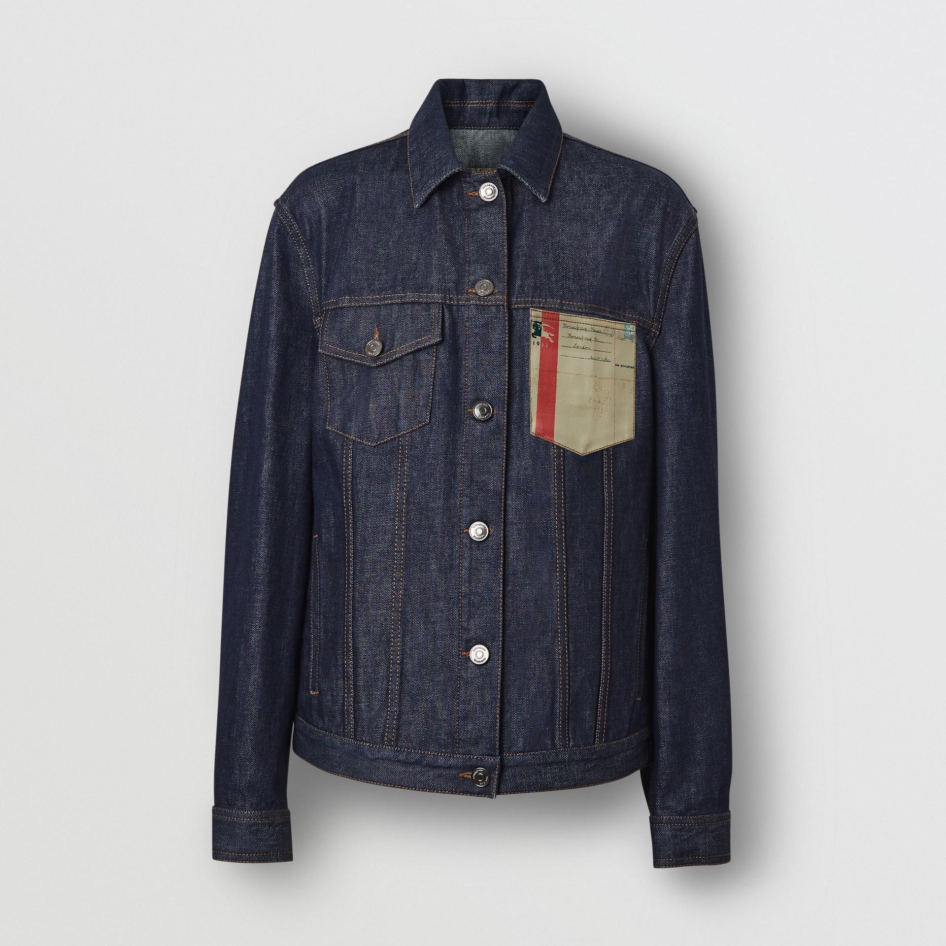 Postcard Motif Japanese Selvedge Denim Jacket in Indigo - Women | Burberry United States - gallery image 3