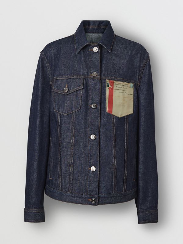 Postcard Motif Japanese Selvedge Denim Jacket in Indigo - Women | Burberry United States - cell image 3
