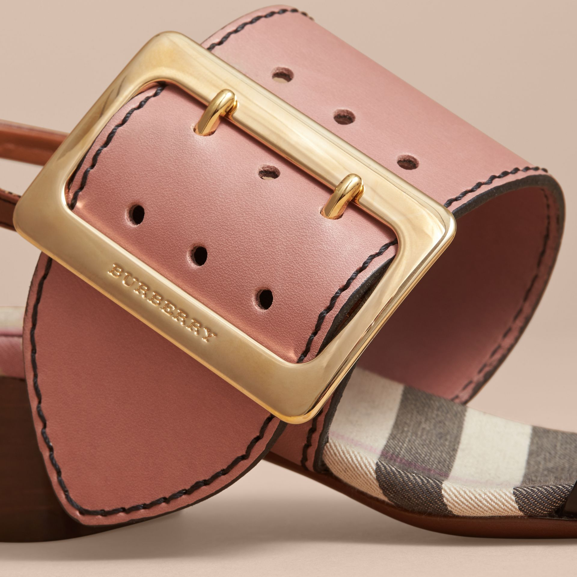 Buckle Detail Colour Block Leather Sandals in Nude Pink | Burberry - gallery image 1