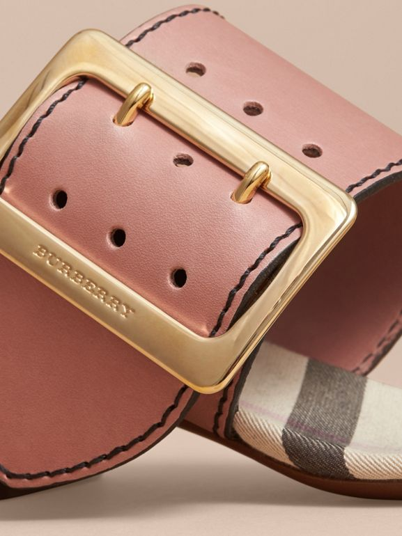 Buckle Detail Colour Block Leather Sandals in Nude Pink | Burberry - cell image 1