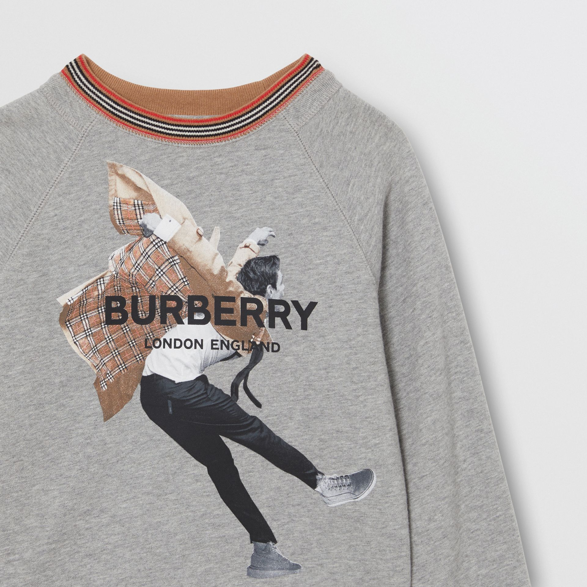 Jump Print Cotton Sweatshirt in Grey Melange | Burberry - gallery image 4