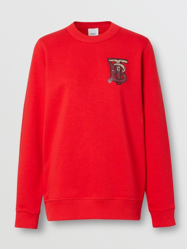 花押字圖案棉質寬版運動衫 (亮紅色) - 女款 | Burberry - cell image 3