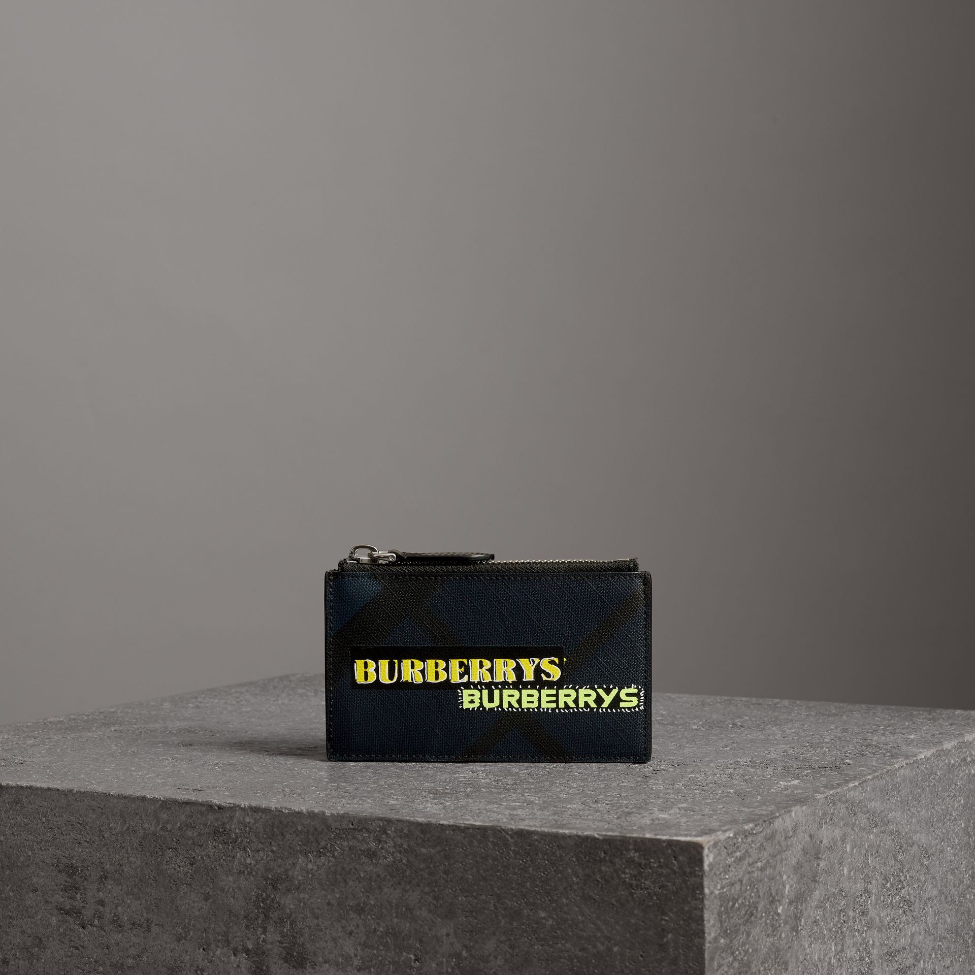 Logo Print London Check Zip Card Case in Charcoal | Burberry Canada - gallery image 0