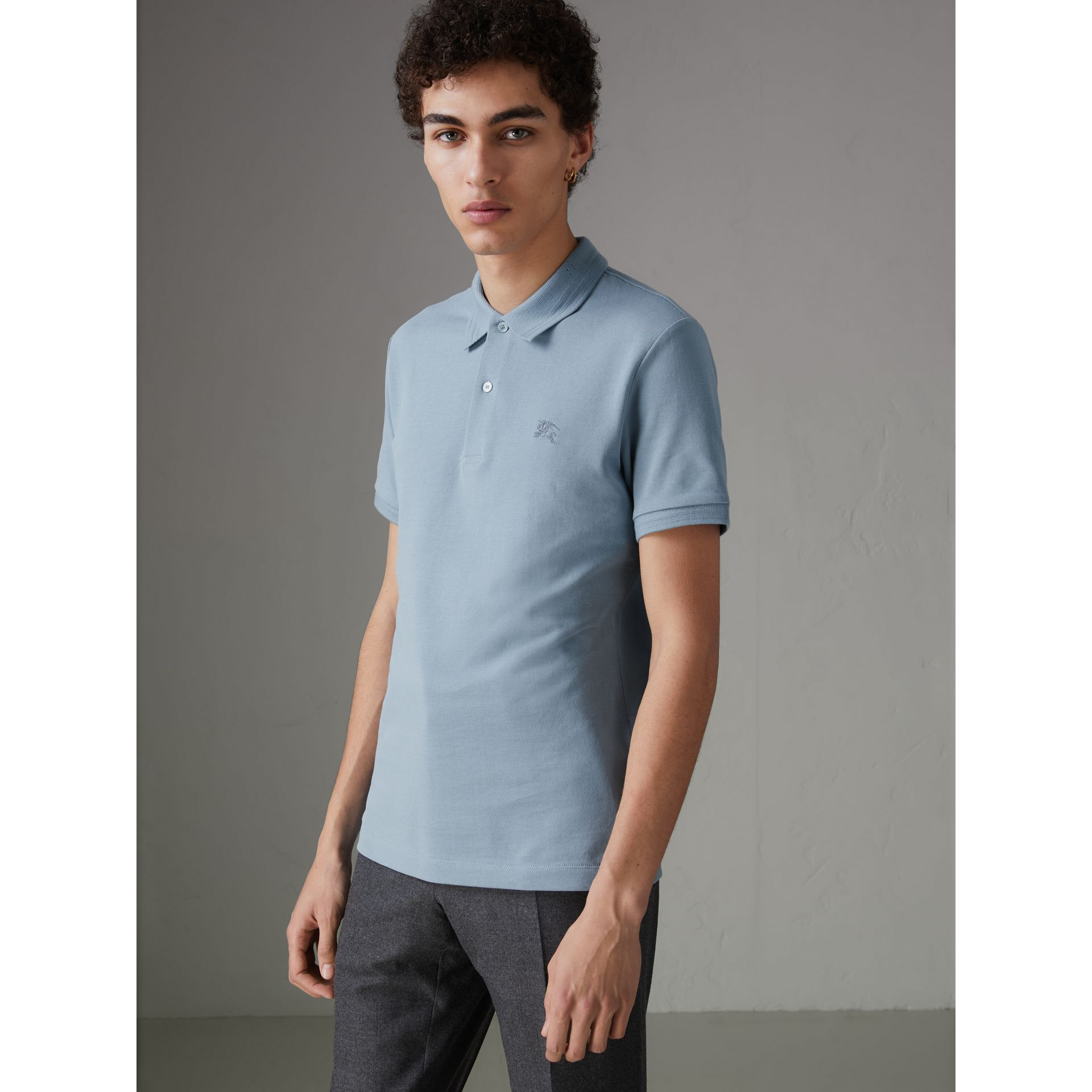 Print Trim Cotton Piqué Polo Shirt in Dusty Teal Blue - Men | Burberry - gallery image 4
